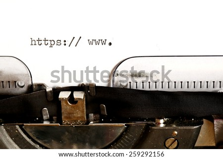 Old typewriter with text http - stock photo