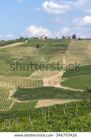 Old typical farmhouse in the countryside of Pavia (Lombardy, Italy) at summer - stock photo