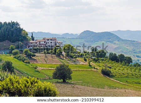 Old typical Tuscan farmhouse in Italy - stock photo