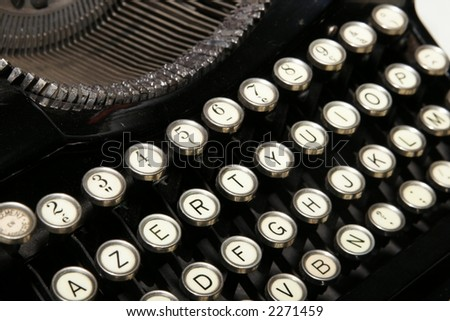 Old Typing machine. French layout - stock photo
