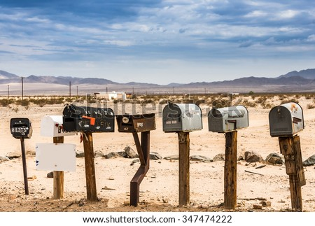 Old US Mailboxes along Route 66 - stock photo