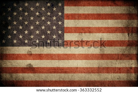 Old usa flag. Grunge background