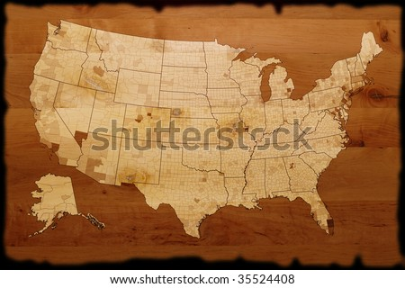 old USA map on wood texture - stock photo