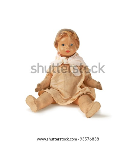 old used antique doll isolated - stock photo