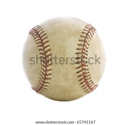 Old used baseball isolated on white - stock photo