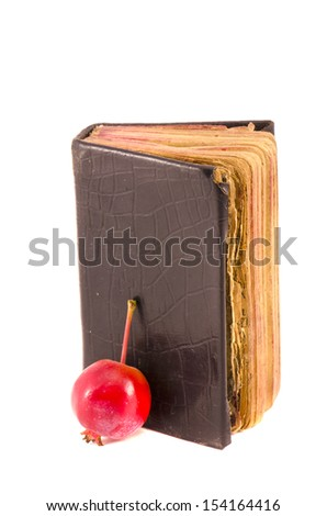 old used christianity prayer book Bible with red apple isolated on white background - stock photo