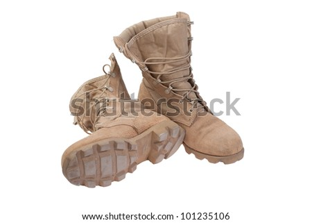 old used desert boots afghanistan war period isolated - stock photo