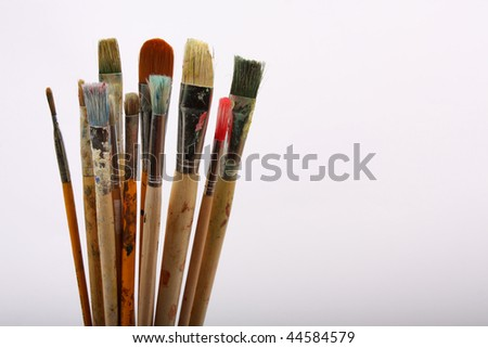 Old used Paintbrushes - stock photo