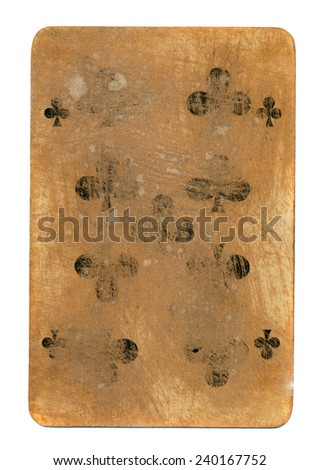 old used playing card of cross  paper background isolated on white