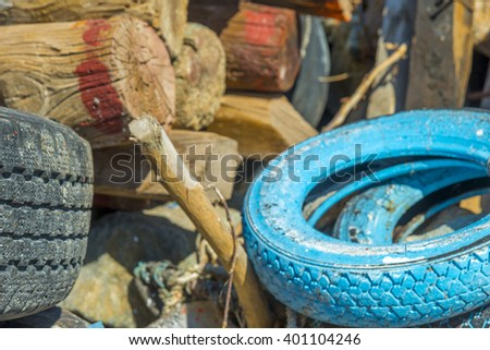 Old used tyres. - stock photo