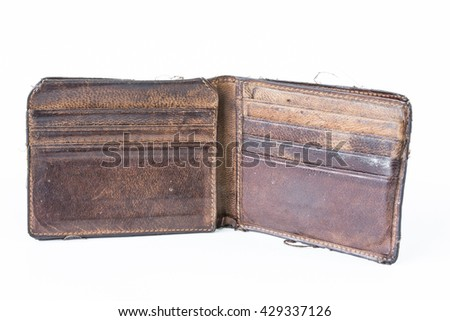 Old Used Wallet Isolated on white background
