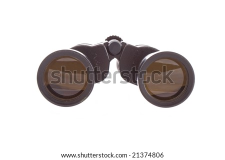 old USSR binocular on the white