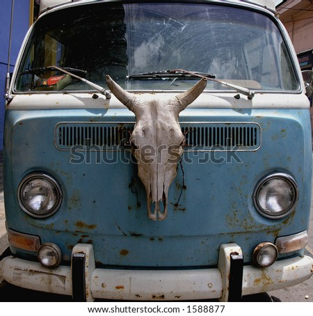 old van with animal skull