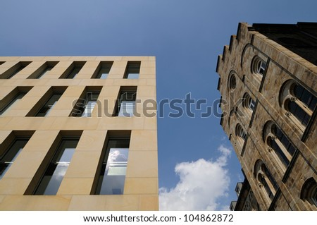 Old versus new, facades, Muenster, Germany - stock photo