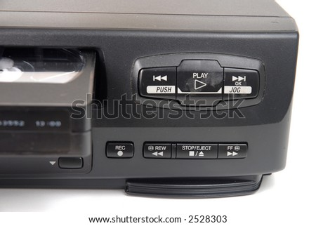 Old VHS Recorder, detail or menu. - stock photo