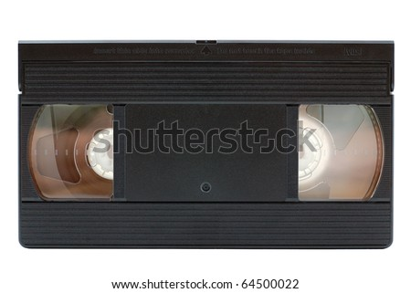Old VHS video cassette isolated on white background