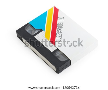 Old VHS video cassette tape with blank label - stock photo