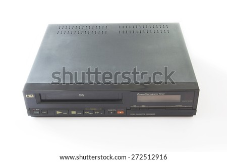 Old VHS Video Recorder Isolated on White Background. - stock photo
