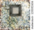 Old Victorian frames on the abstract winter background with confetti - stock photo
