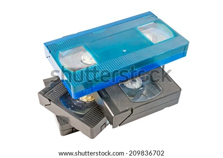 old  video cassette on white background  - stock photo