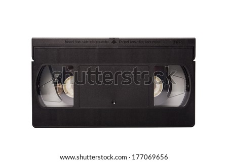 Old video tape isolated on white background - stock photo