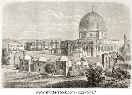 Old view of Al-Aqsa Mosquee, Jerusalem. Created by Lancelot after photo of unknown author, published on Le Tour du Monde, Paris, 1860 - stock photo