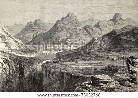 Old view of Ankober, central Ethiopian locality. Created by Loudon, published on L'Illustration, Journal Universel, Paris, 1868 - stock photo