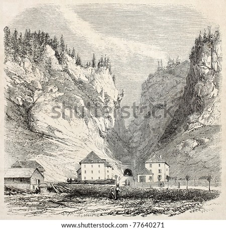 Old view of Col des Roches, mountain pass, on the border between Switzerland and France.  Created by Freeman, published on L'Illustration Journal Universel, Paris, 1857 - stock photo