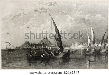 Old view of Corfu island, Ionian sea. Created by Allom and Floyd, published on Il Mediterraneo Illustrato, Spirito Battelli ed., Florence, Italy, 1841 - stock photo