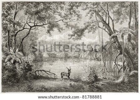 Old view of enchanted lagoon, in Luzon island, Philippines. Created by Lancelot, published on Le Tour du Monde, Paris, 1960 - stock photo
