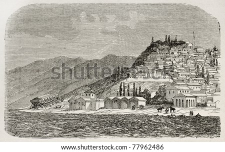 Old view of Nicomedia (nowadays Izmit) senior capital city of the Roman empire. Created by Gaiaud, published on Le Tour du Monde, Paris, 1864