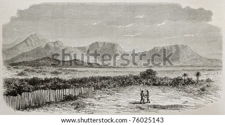 Old view of Nile river and Kukou mountains, southern Sudan. Created by De Bar and Meunier, published on Le Tour du Monde, Paris, 1864 - stock photo