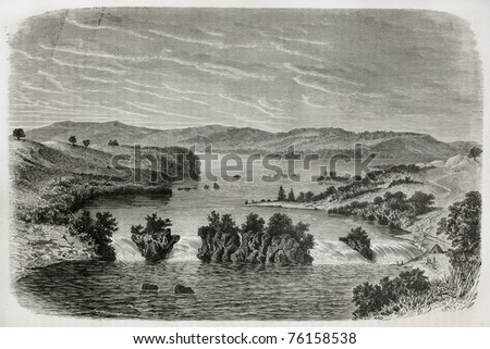 Old view of Ripon falls, Lake Victoria, once marked as the source of Nile river, nowadays submerged after Owen Falls Dam's construction. Created by De Bar, published on Le Tour du Monde, Paris, 1864 - stock photo