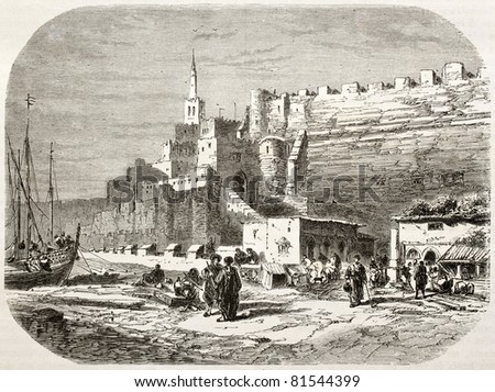 Old view of the port of Tangier. Created by Noel after photo of Schickler, published on Le Tour du Monde, Paris, 1860 - stock photo