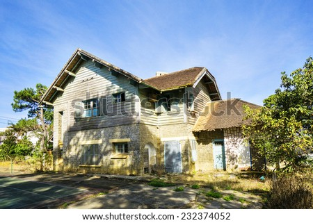 Old villa built by the French in Da Lat City, Vietnam. Has about 2,000 old villas in Da Lat. - stock photo