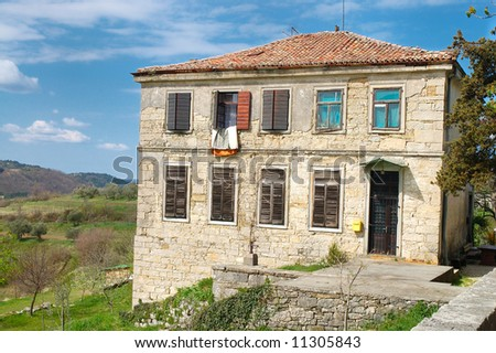 Old villa in Hum, smallest town on Earth located in Istria peninsula, Croatia - stock photo