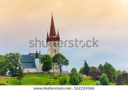 Old village church in Spi���¡sk���½ ���tvrtok, Slovakia - stock photo