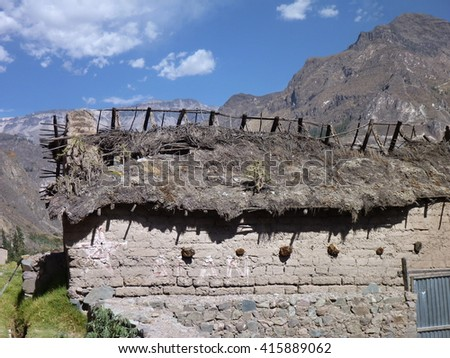 old village in cotahuasi canyon in peru - stock photo