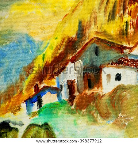 old village in spain in the pyrenees mountains, oil painting on canvas, illustration