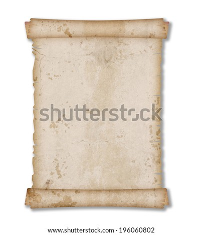 Old vintage and grunge paper scroll isolated on white background - stock photo