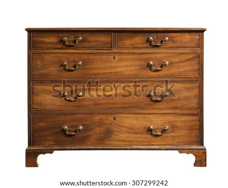 old vintage antique chest of drawers mahogany wood isolated on white. - stock photo
