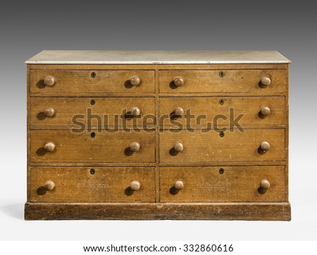 old vintage antique chest of drawers pine wood hand painted well used isolated on white with clipping path. - stock photo
