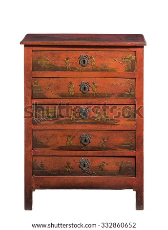 old vintage antique chest of drawers wooden lacquered isolated on white. - stock photo