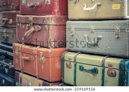 old vintage bag suitcases - stock photo