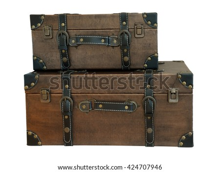 old vintage bag suitcases on isolate background (clipping path) - stock photo