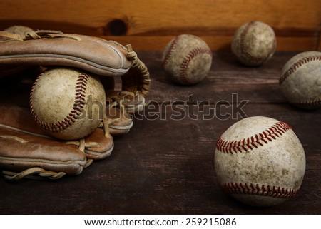 Old Vintage Baseball Background. Shallow focus - stock photo