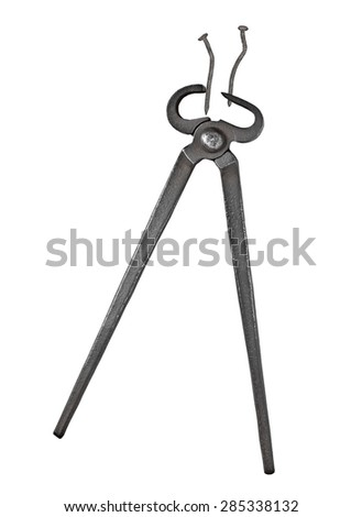 old vintage blacksmith pincers and nails  isolated over white background, clipping path - stock photo