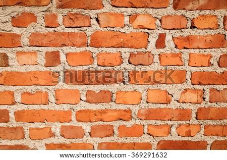 Old vintage brick wall background. Brick wall texture. - stock photo