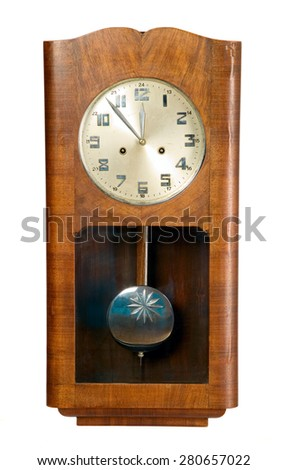 Old vintage brown clock made from wood, isolated - stock photo