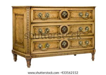 Old vintage bureau dresser chest of drawers isolated on white with clipping path - stock photo